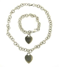 Tiffany & Co. Sterling Silver Heart Tag Necklace Bracelet Set Featured in our upcoming auction on July 26!