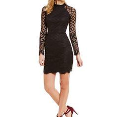0a606daa Lace Illusion-Neck Mock Mini Dress Scalloped Hem, Junior Dresses, Lace  Overlay,