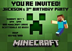Minecraft Creeper Invitation  Turning Eight Creeper Style