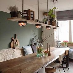 Dining Table Lighting, Bike Shed, Home Fashion, Industrial Style, Floating Shelves, Kitchen Design, Sweet Home, Dining Room, House Styles