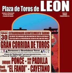 ¡Corrida monstruo en León!¡Enrique Ponce,Juan José Padilla, El Fandi y Cayetano!¡Entradas disponibles desde 32 euros! http://www.toroticket.com/entradas-toros-leon/808-leon-30-junio-entradas-toros.html