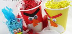 Vasos decorados de cumpleaños de Angry Birds
