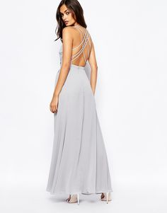 Image 2 ofFame and Partners Deco Siren Wrap Front Cami Strap Maxi Dress With Thigh Split