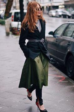 Green Skirt Over Pants