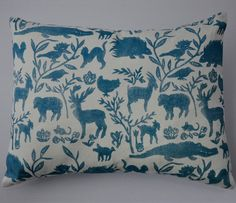 Nursery Design Cushion in Blue Bed Pillows, Cushions, Cushion Fabric, Nursery Design, Soft Furnishings, Kids Bedroom, Fabric Design, Screen Printing, Tapestry