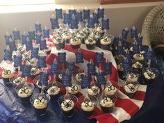 stick a fork in it...she's done, signs and decor chocolate topping,flag tablecloth