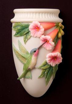 Hummingbird and Trumpet Flowers Wall Vase/Wall Pocket