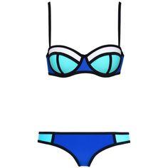 MUXILOVE Color Conjoin Women Neoprene Bikini Set Swimwear Swimsuit (235 MXN) ❤ liked on Polyvore featuring swimwear, bikinis, swim suits, bikini swimwear, bikini swim suit, bikini swim wear and swimsuits two piece
