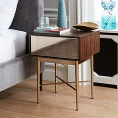 Nouveau Mirror Nightstand, Bronze Mirror, Walnut at West Elm - Nightstand - Bedroom Furniture - Bedside Table Mirror Chest Of Drawers, Mirrored Nightstand, Bedside, Tall Nightstands, Dressers, Modern Furniture, Furniture Design, Modernism Week, House And Home Magazine
