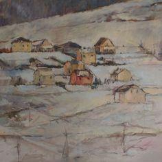 Pejzaż - Czerwony domek  oil on canvas  size 100x95cm  Magdalena Nahirny  https://www.facebook.com/MagdalenaNahirnyArt/
