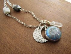 Stone Crystal Point Moon Charm Necklace.