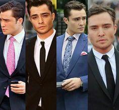 No sé, te amo Ed Westwick, Chuck Bass, Suit And Tie, Gossip Girl, Tie Clip, Twitter, Fashion, Te Amo, Bow Tie Suit