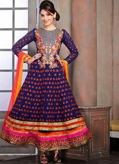 Blue Georgette Anarkali Salwar Kameez With Embroidery Work @ Looksgud.in #Ethnic #Embroidered #Wedding #Designer #Anarkali #SalwarSuit