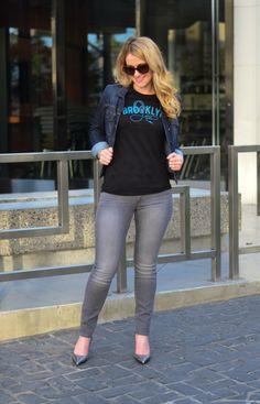 Brooklyn Industries Tee + Lucky Brand skinny Grey Jeans | Luci's Morsels