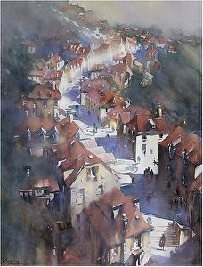 steps of rocamadour 3 by Thomas W. Schaller Watercolor ~ 30 inches x 22 inches