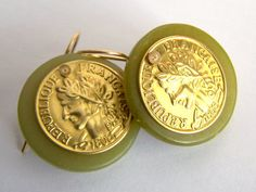 Large Green Jade Serpentine Gold French Coin by pinkowljewelry, $28.00