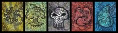 Magic the Gathering Zentanlge Mana Symbol ATCs by hell0z0mbie.deviantart.com on @deviantART