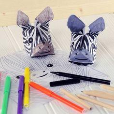 origami facile: popagami zèbre qui combine le coloriage et le pliage