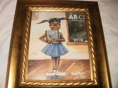 Vintage African American School Girl in Class Painting