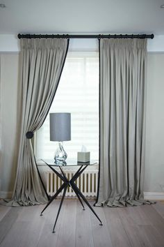 Kildare Linen Curtains with King Pleat and Jumbo Piping