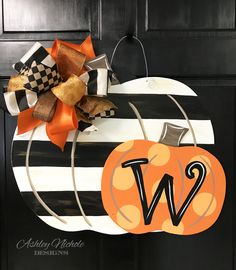 Striped and polka dot pumpkin door hanger