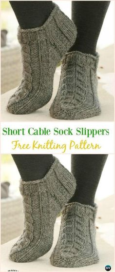 Short Cable Sock Slippers Free Knitting Pattern - #Kniting; Adult #Slippers Free Patterns