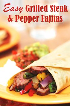 Easy Grilled Steak and Pepper Fajitas Recipe - dairy-free, gluten-free, and healthy Steak Recipes, Grilling Recipes, Camping Recipes, No Dairy Recipes, Healthy Recipes, Dairy Free, Gluten Free, Nut Free, Baked Vegetables