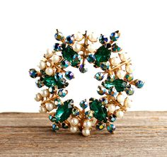 Vintage Green Rhinestone Brooch  1950s Gold Tone by MaejeanVINTAGE, $18.00