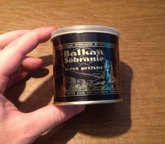 Vintage Balkan Sobranie No. 759 Black Label Tobacco Mixture EMPTY 2 Oz. Tin