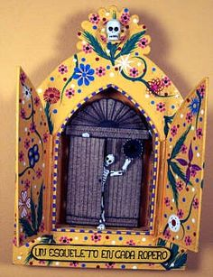 Dia de Los Muertos: Day of the Dead, a skeleton in every closet Mais Mexico Day Of The Dead, Day Of The Dead Art, Mexican Artwork, Mexican Folk Art, Mexican Skulls, Mexican Design, Mexican Crafts, Skull Art, Box Art