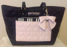 NEW NWT BETSEY JOHNSON LARGE QUILTED HEARTS TOTE WITH POUCH #BetseyJohnson #TotesShoppers
