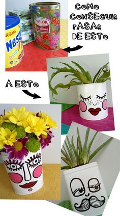 Might work well for the business expo.(in Spanish, but realitviely easy to figure out. Tin Can Crafts, Diy And Crafts, Crafts For Kids, Painted Flower Pots, Painted Pots, Diys, Recycled Crafts, Bottle Crafts, Art For Kids