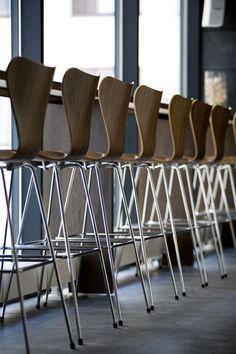Long legged 7 Chair designed by Arne Jacobsen for Republic of Fritz Hansen.