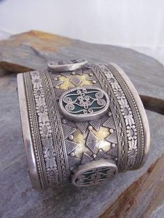 Old Kazak style bracelet made high grade silver, green backing glass and fire gilded gold.