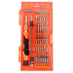 Precision Screwdriver set,HokoAcc Hand Tools Magnetic Drive Kit, 58 in 1 with 54 Bit Smart Phone Repair Tool with Orange Box. For product info go to:  https://www.caraccessoriesonlinemarket.com/precision-screwdriver-sethokoacc-hand-tools-magnetic-drive-kit-58-in-1-with-54-bit-smart-phone-repair-tool-with-orange-box/