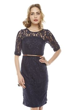 Navy Lace Dress with Belt.