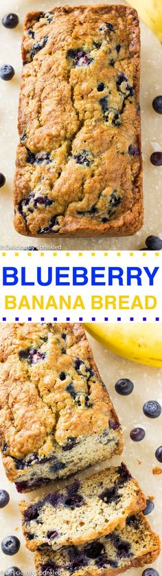 The BEST Blueberry Banana Bread Recipe! (the best dessert recipes banana bread) Blueberry Banana Bread, Make Banana Bread, Banana Bread Recipes, Frozen Blueberry Recipes, Muffin Recipes, Frozen Blueberry Muffins, Super Moist Banana Bread, Blueberry Bread Recipe, Sugar Free Banana Bread
