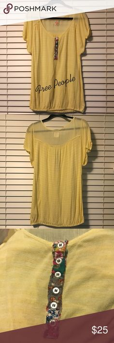 Free People Gauze Henley Tee Fabulous Soft Gauze Material, With Floral Button Panel. •Brand: Free People •Size: Medium •Style: Rolled Sleeve Detail, Elastic Hem •Material: 95% Rayon, 5% Linen  •Condition: Great Free People Tops Tees - Short Sleeve