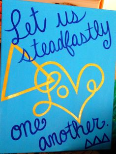 """Tri Delta """"Let Us Steadfastly Love One Another"""" Canvas 