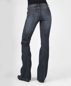 $44.99 Love this Blue Denim Dark Wash Bootcut Jeans - Plus Too on #zulily! #zulilyfinds