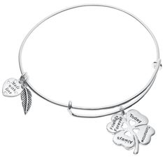 Queenberry Qina C. Sterling 4 Leaf Clover Heart Friends Forever Dangle Charm Wire Bangle Bracelet