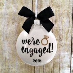 Engagement Ornament, Engaged Ornament, Personalized Engagement Gift, Engagement Christmas Ornament, Wedding Ornament, Just Engaged Gift by PearTreePersonal on Etsy https://www.etsy.com/ca/listing/275371936/engagement-ornament-engaged-ornament