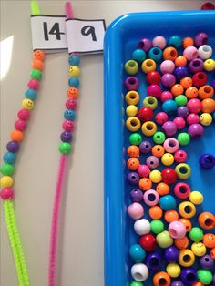 Fine motor maths activity - counting using pipe cleaners and beads - my kids loved this today! : Fine motor maths activity - counting using pipe cleaners and beads - my kids loved this today! Kindergarten Centers, Preschool Learning, Kindergarten Classroom, Teaching Math, Preschool Activities, Math Centers, Kindergarten Counting, Teaching Subtraction, Kindergarten Special Education