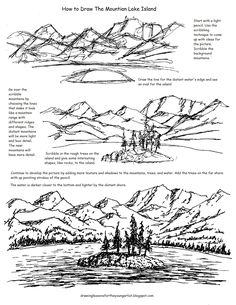 This free printable worksheet offers an approach to creating a picture when you do not have any reference materials to work with. It will help give the young artist some confidence and direction in dr Landscape Drawing Tutorial, Landscape Drawings, Landscapes, Drawing Lessons, Drawing Techniques, Learn Drawing, Easy Drawings, Pencil Drawings, Mountain Drawing