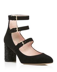 kate spade new york Anie Glitter Block Heel Mary Jane Pumps - 100%…