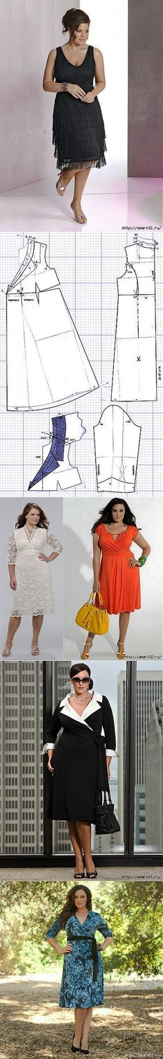 Las blusas y la túnica - los patrones simples Sewing Hacks, Sewing Projects, Sewing Tips, Plus Size Sewing, Learn To Sew, Tool Design, Designs To Draw, Elegant Dresses, Dress Patterns