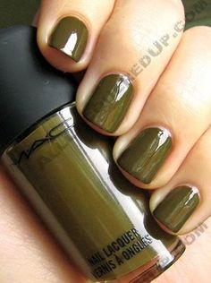 """quoted from alllaqueredup dot com """"Dry Martini – is a deep olive that leans towards brown, like a dark army camouflage green. It's edgy and funky and a nice change from the more emerald/forest shades we've seen in seasons past. In case you're wondering, and I'm sure you are, it's much darker and more browned than last fall's RBL No More War."""" MAC Nail Trend FW09 by Jin Soon Fall Green Nail Colors, Nails Trends, Nails Art, Nails Colors, Fashion Accessories, Nails Polish, Mac Nails, Dry Martinis, Green Polish"""