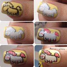 Step by step unicorn (from despicable me) nail art