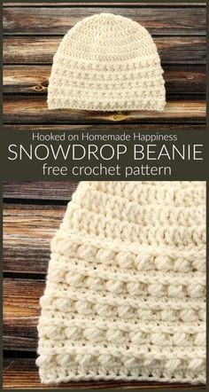 Snowdrop Beanie Crochet Pattern (CAL for a Cause) - - The Snowdrop Beanie Crochet Pattern starts out with a simple double crochet. Then it uses a combination of half double crochet and the Pebble Stitch to create the pretty textured brim. Crochet Adult Hat, Bonnet Crochet, Easy Crochet Hat, Crochet Beanie Pattern, Crochet Cap, Crochet Winter, Basic Crochet Stitches, Crochet Baby Hats, Crochet Basics