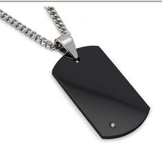 This black tungsten carbide dog tag is set with diamond 0.01ctw measures 1.75″ X 1″ with 24″ curb link chain.